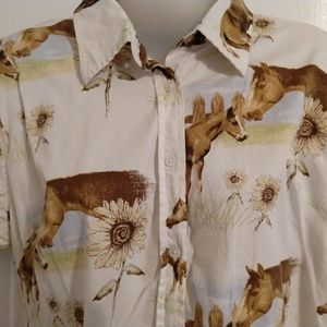 Horse Foal Print Shirt Blouse Sunflowers L